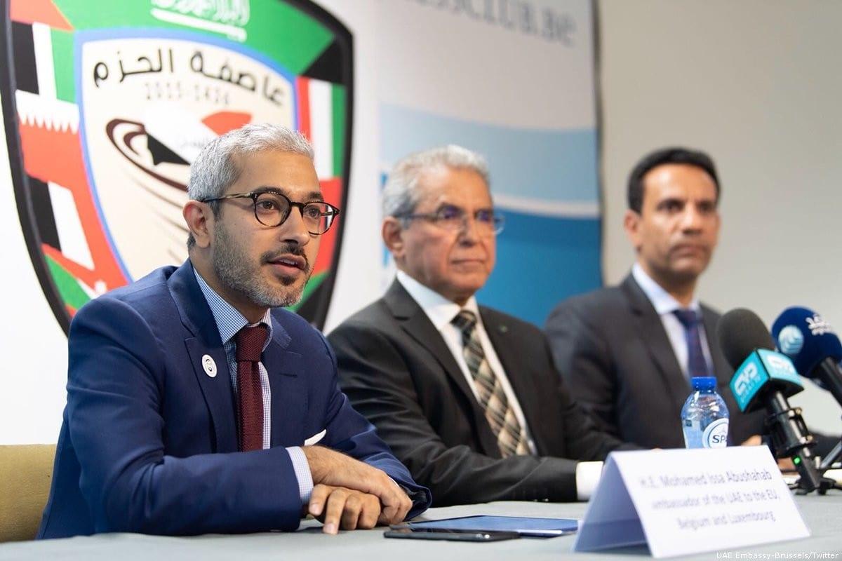 The United Arab Emirates (UAE) ambassador to the European Union, Abushahab (FL) [Tiwitter]