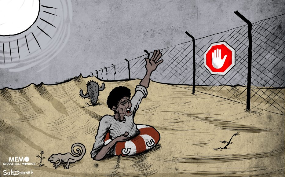 The migrant crisis in the Sahara - Cartoon [Sabaaneh/MiddleEastMonitor]