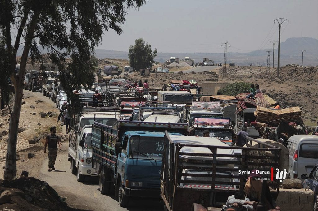 A Syrian army offensive launched last month on opposition-held territory in south west Syria has driven tens of thousands of people towards the border with Jordan and thousands more to the frontier with the Israeli-occupied Golan Heights
