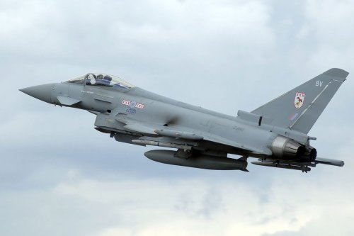 A British Royal Air Force Eurofighter EF-2000 Typhoon F2 (ZJ910) at the 2008 Air Day, Kemble Airport, Gloucestershire, England [Adrian Pingstone / WikiMedia]
