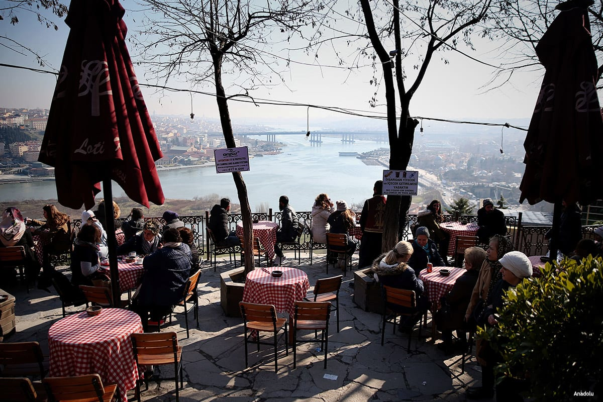 Tourists enjoy the view in Istanbul, Turkey