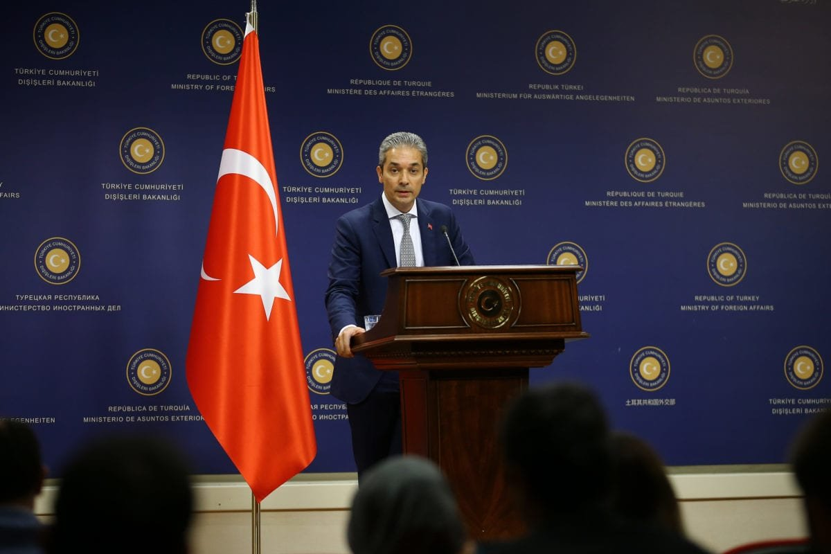 Turkish Foreign Ministry Spokesman Hami Aksoy delivers a speech as he holds a press conference in Ankara, Turkey on 19 July, 2018 [Muhammed Yaylalı/Anadolu Agency]