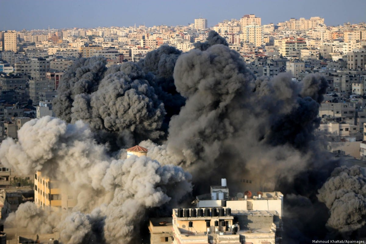 Israel carried out air strikes in Gaza City on 9 August 2018 [Mahmoud Khattab/Apaimages]
