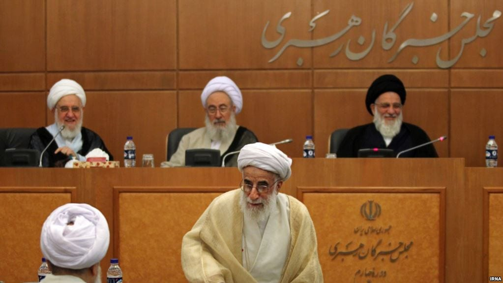Guardian Council members; Mahmoud Hashemi Shahroudi (R), and Ahmad Jannati (C), attending a session of Assembly of Experts, undated [IRNA]