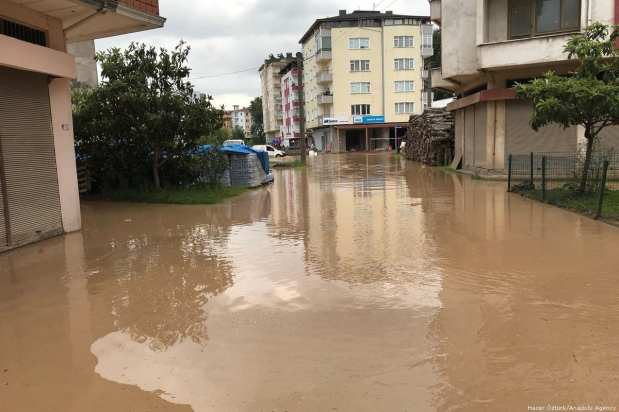 Streets after the flow rate of a stream increased following the heavy rain that hit Ordu in Turkey on 9 August 2018 [Hacer Öztürk/Anadolu Agency]