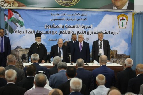 Palestinian President Mahmoud Abbas participates in the Palestinian Central Council meeting of the Palestine Liberation Organization (PLO)'s National Council in the West Bank city of Ramallah [Issam Rimawi/Anadolu Agency]