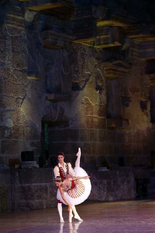 The State Academic Bolshoi Theatre of Russia perform during 25th International Aspendos Opera and Ballet Festival in Antalya, Turkey on 14 September, 2018 [Orhan Çiçek/Anadolu Agency]