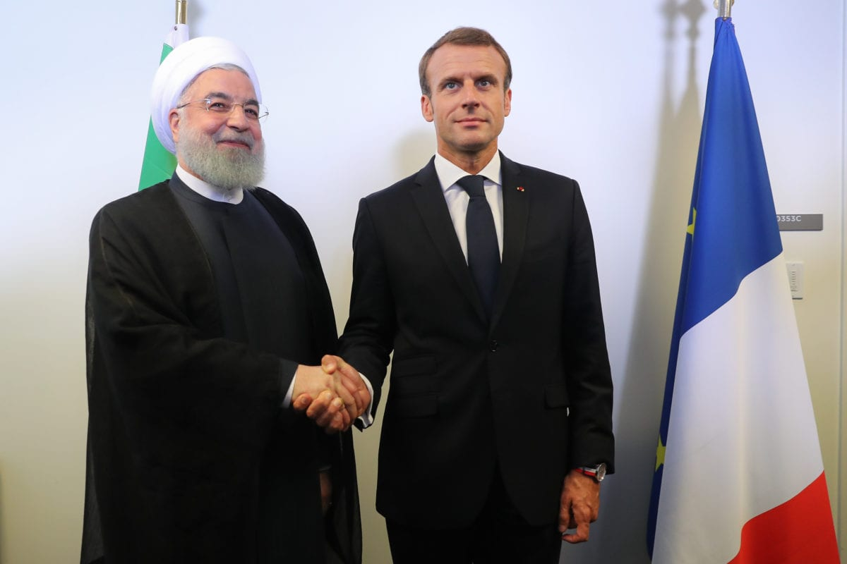 Iranian President Hassan Rouhani (L) meets with French President Emmanuel Macron (R) within the 73rd Session of the UN General Assembly in New York, United States on September 26, 2018. ( Presidency of Iran / Handout - Anadolu Agency )