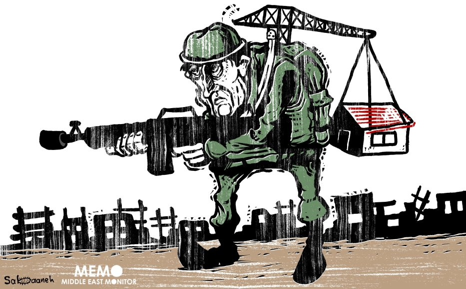More Israeli settlements in Palestine - Cartoon [Sabaaneh/MiddleEastMonitor]
