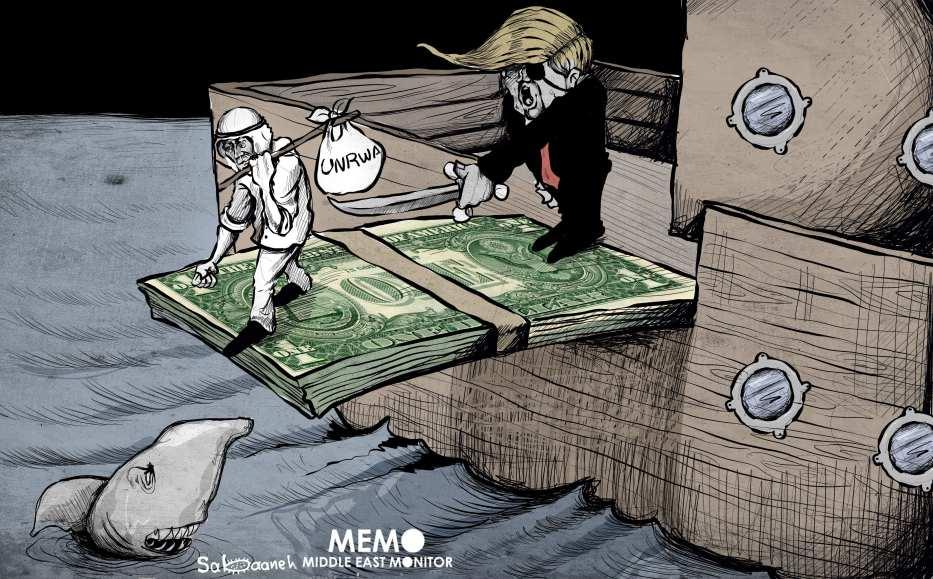 US decision to cut UNRWA funding - Cartoon [Sabaaneh/MiddleEastMonitor]
