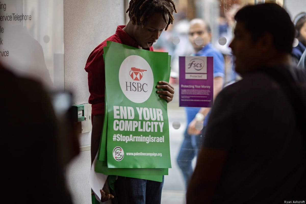 UK protests were held outside branches of HSBC bank over shares in an Israeli arms company accused of manufacturing internationally banned weapons [Ryan Ashcroft]