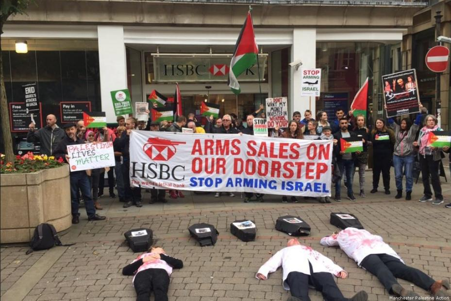 UK protests were held outside branches of HSBC bank over shares in an Israeli arms company accused of manufacturing internationally banned weapons [Manchester Palestine Action]