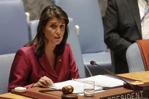 US Ambassador to the UN Nikki Haley addresses the UNSC in New York, US on 20 September 2018 [Mohammed Elshamy/Anadolu Agency]
