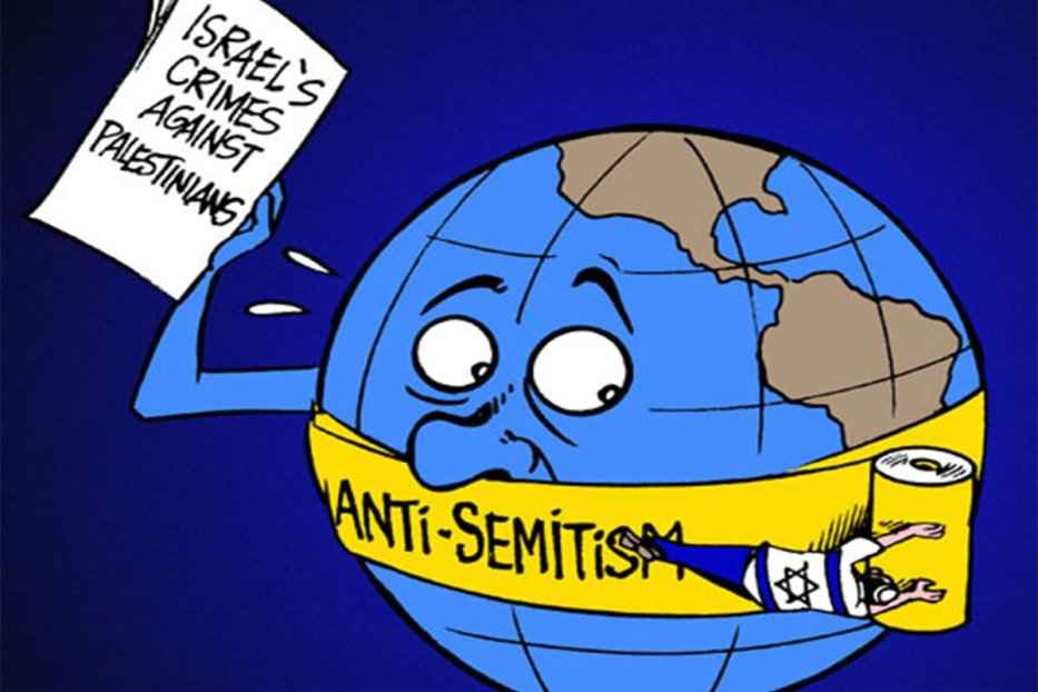 Anti-Semitism and Criticism of Israel - Cartoon [Cartoon Latuff/MiddleEastMonitor]