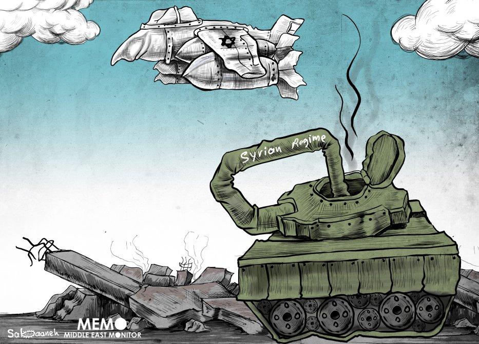 Tensions between Russia and Israel in Syria - Cartoon [Sabaaneh/MiddleEastMonitor]
