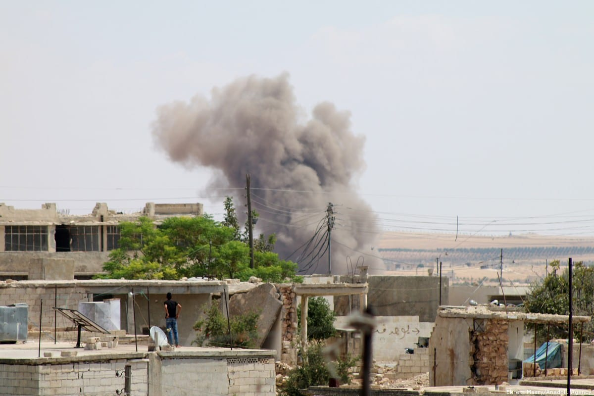 Smoke rises after the Assad Regime carried out air strikes in Idlib, Syria on 8 September 2018 [Ekrem Masry/Anadolu Agency]
