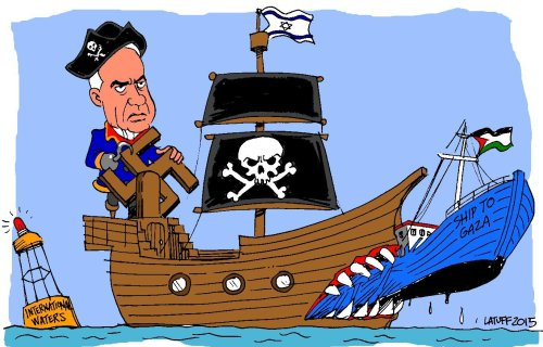 Freedom Flotilla - Cartoon [Cartoon Latuff/MiddleEastMonitor]