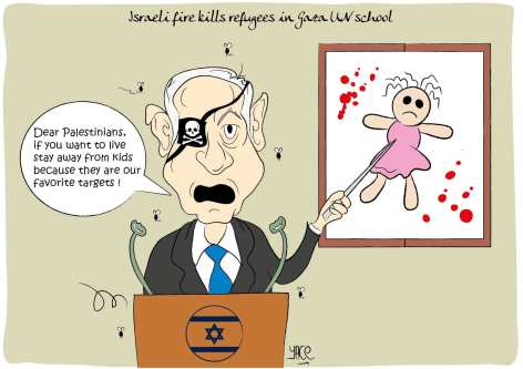 Israel targets Palestinian children - Cartoon [Yace/MiddleEastMonitor]