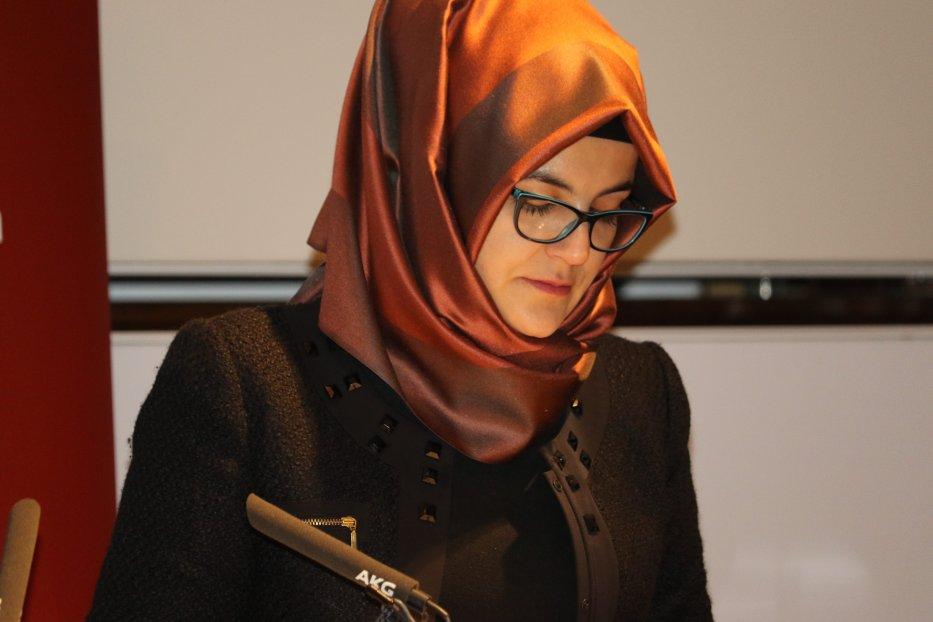 Jamal Khashoggi's fiancee Hatice Cengiz in London on 29 October 2018 [Jehan Alfarra/Middle East Monitor]