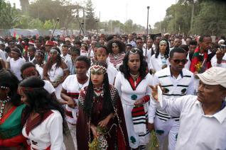 "Thousands of Oromo people attend the ""Irreecha"" festival (Oromo Thanksgiving) at Addis Ababa's Bishoftu town in Addis Ababa, Ethiopia on 30 September, 2018. [Minasse Wondimu Hailu/Anadolu Agency]"