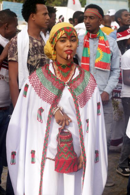 "Oromo woman wearing traditional clothes attends the ""Irreecha"" festival (Oromo Thanksgiving) in Ethiopia on 30 September, 2018. [Minasse Wondimu Hailu/Anadolu Agency]"