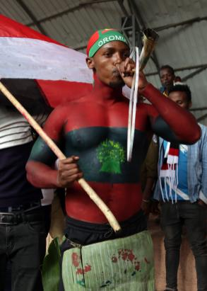 "Oromo man, with his body painted, attends the ""Irreecha"" festival (Oromo Thanksgiving) in Addis Ababa, Ethiopia on 30 September, 2018. [Minasse Wondimu Hailu/Anadolu Agency]"