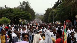 "Thousands of Oromo people attend the ""Irreecha"" festival (Oromo Thanksgiving) in Addis Ababa, Ethiopia on 30 September, 2018. [Minasse Wondimu Hailu/Anadolu Agency]"