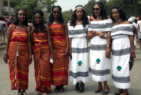 "Oromo women wearing traditional clothes attend the ""Irreecha"" festival (Oromo Thanksgiving) in Addis Ababa, Ethiopia on 30 September, 2018. [Minasse Wondimu Hailu/Anadolu Agency]"
