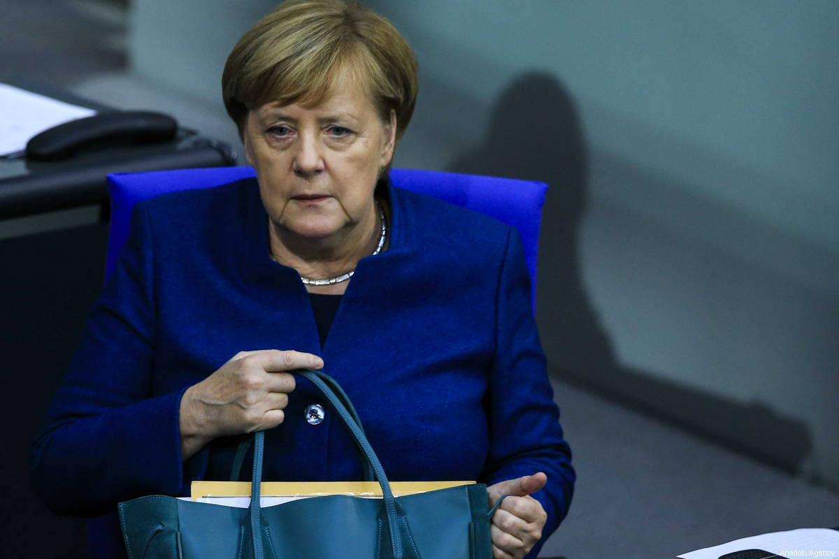 German Chancellor Angela Merkel seen during a session at the German Parliament (the Bundestag) on the EU Leaders Summit in Berlin, Germany on October 17, 2018 [Abdülhamid Hoşbaş / Anadolu Agency]
