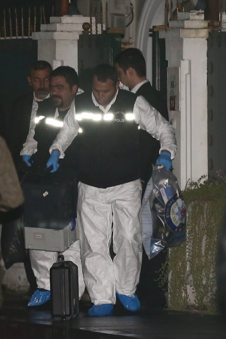 Turkish crime scene investigation team members leave the Saudi Consul in Turkey on 18 October 2018 [Onur Çoban/Anadolu Agency]