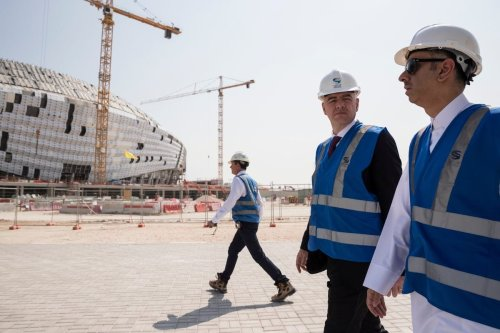 FIFA President Gianni Infantino (C) inspects Al Wakrah Stadium, which is under construction within the preparations of 2022 FIFA World Cup, during his visit in Doha, Qatar on October 23, 2018. ( Qatar 2022 Local Organizing Committee / Handout - Anadolu Agency )