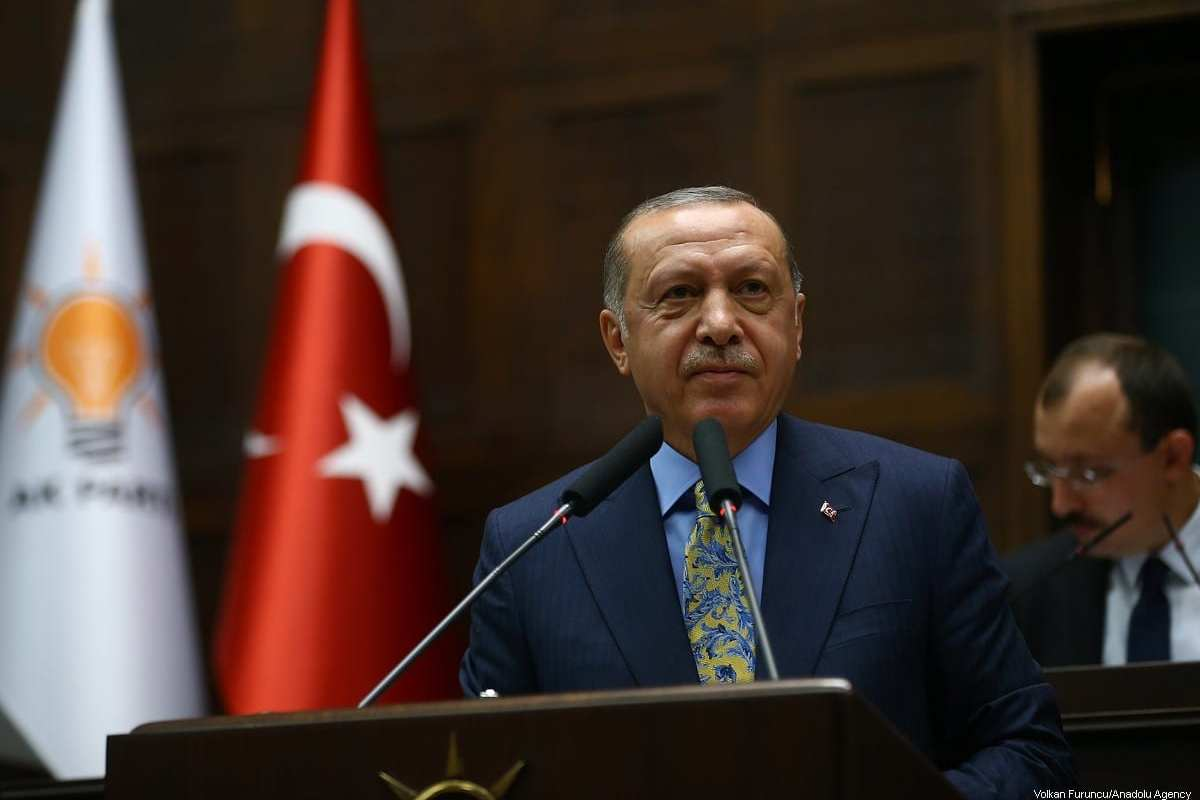 Turkish President and leader of Turkey's ruling Justice and Development (AK) Party Recep Tayyip Erdogan speaks during his party's parliamentary group meeting at the Grand National Assembly of Turkey in Ankara, Turkey on 23 October 2018. [Volkan Furuncu/Anadolu Agency]