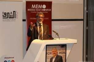 Dr Daud Abdullah, MEMO's director and friend of Jamal Khashoggi, speaks at MEMO and Al-Sharq Forum's event in London 'Remembering Jamal' on 29 October 2018 [Jehan Alfarra/Middle East Monitor]