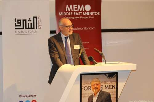 Crispin Blunt MP, the Member of Parliament for the Reigate constituency in Surrey speaks at MEMO and Al-Sharq Forum's event in London 'Remembering Jamal' on 29 October 2018 [Jehan Alfarra/Middle East Monitor]