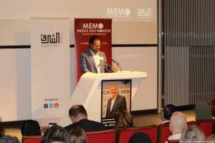 British Broadcaster Ajmal Masroor speaks at MEMO and Al-Sharq Forum's event in London 'Remembering Jamal' on 29 October 2018 [Jehan Alfarra/Middle East Monitor]