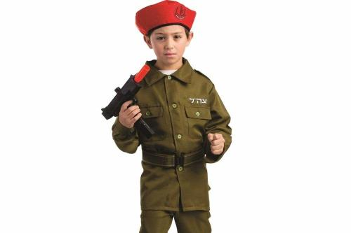 "Product image for ""Dress Up America Israeli Soldier Costume For Kids"" being sold on Amazon. The Hebrew phrase reads ""Tzhal"", meaning ""Joy; Israel defense forces"" [Amazon.co.uk]"