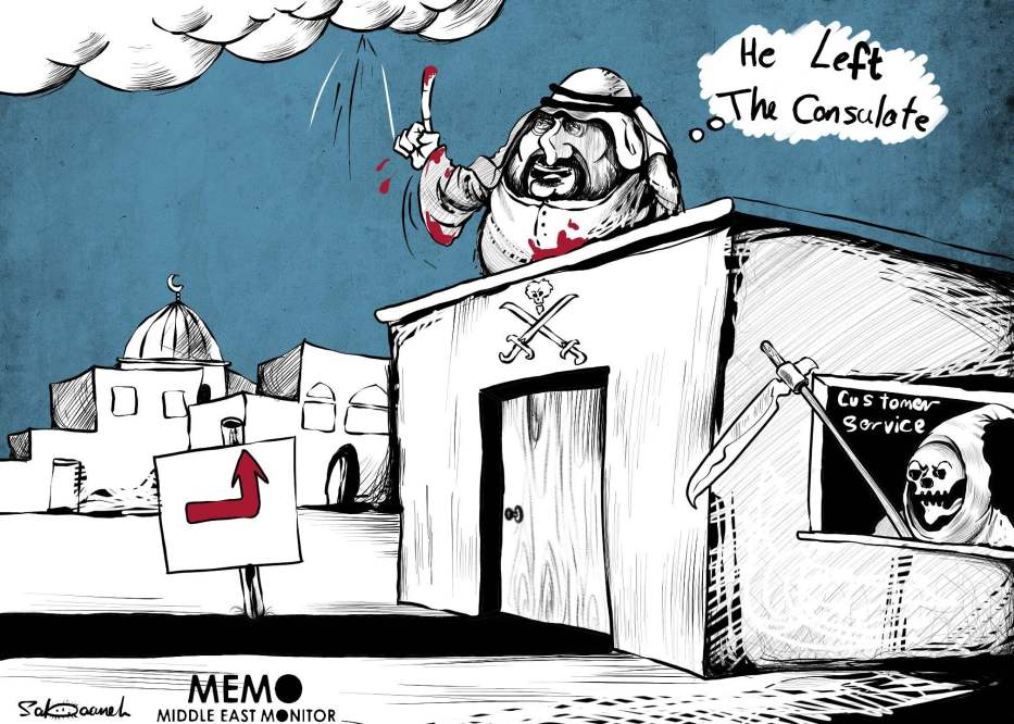 Where is Jamal Khashoggi?...  - Cartoon [Sabaaneh/MiddleEastMonitor]