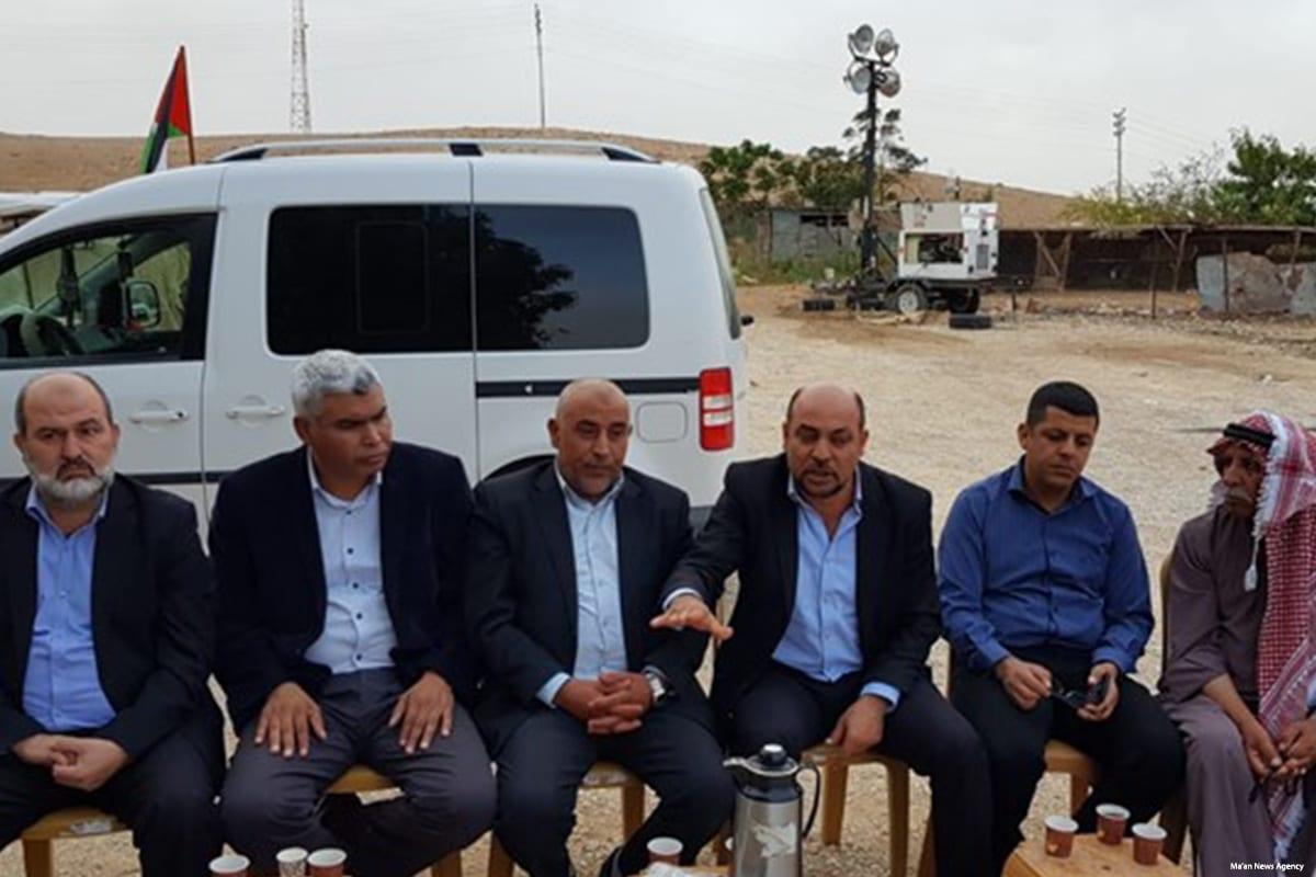 Arab member of the Israeli Knesset visited the Khan Al-Ahmar Bedouin village on 25 October 2018 [Ma'an News Agency]