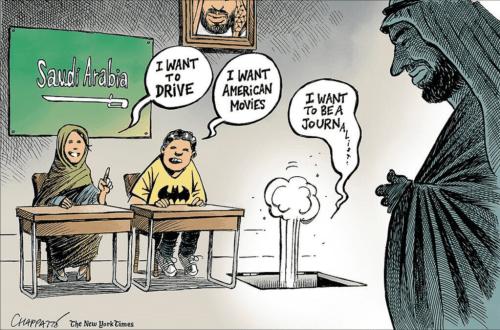 Freedom of Expression in Saudi Arabia - Cartoon [ChappatteTwitter]