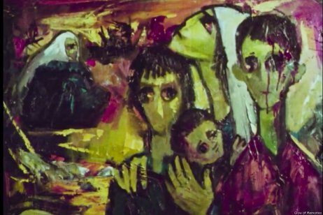 A scene from Ismail Shammout's film 'Glow of Memories' depicting the Palestinian Nakba of 1948