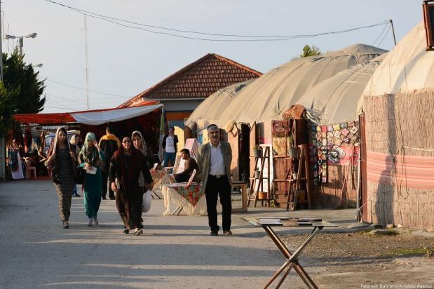 In Golestan near the Caspian sea, traditional Turkmen gather together to sell their good at a bazaar. Iran, 21 November 2018 [Fatemeh Bahrami/Anadolu Agency]