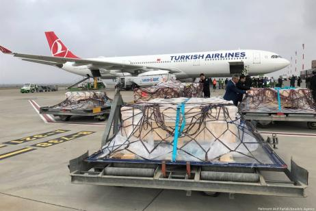 Missing pieces of the famed 'Gypsy girl mosaic' arrives via Turkish Airlines in Turkey's southeastern Gaziantep province from the US on 28 November 2018 [Mehmet Akif Parlak/Anadolu Agency]