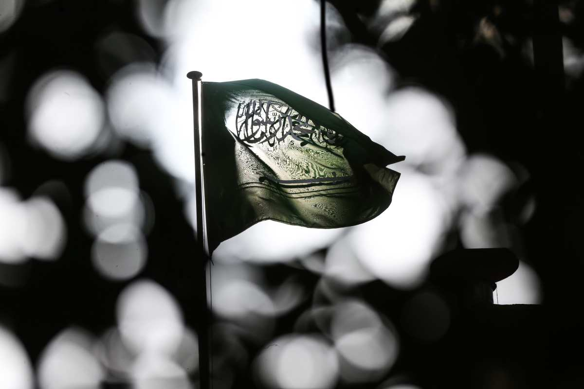 Flag of Saudi Arabia waves in front of the Saudi consulate as the waiting continues on the investigation of killing of Saudi journalist Jamal Khashoggi in Istanbul, Turkey on 6 November, 2018 [Elif Öztürk/Anadolu Agency]