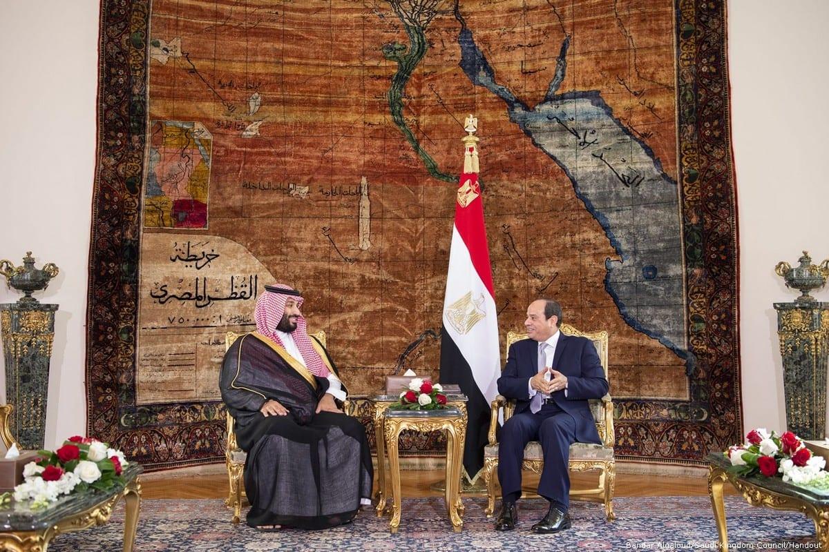 Crown Prince of Saudi Arabia Mohammad bin Salman Al-Saud meets Egyptian President Abdel Fattah Al-Sisi in Cairo, Egypt on 27 November 2018 [Bandar Algaloud/Saudi Kingdom Council/Handout]