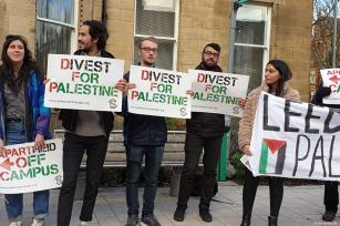 Students at over 30 UK universities take action on their campuses to protest their institutions' complicity in Israel's violations of human rights to mark the International Day of Solidarity with the Palestinian People on 29 November 2018 [Ryan Ashcroft]