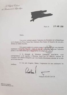 Letter by French President Emmanuel Macron issuing direct order to transfer the case file of Saudi Prince Salman Ghazlan to the French Foreign Minister