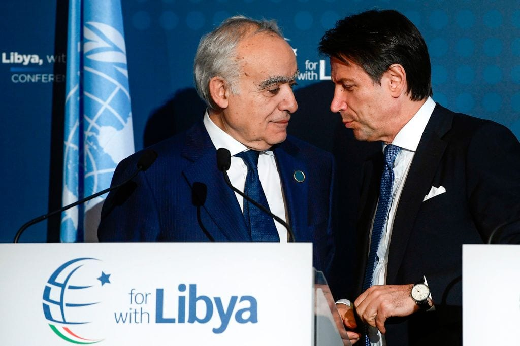 Italian Prime Minister Giuseppe Conte (R) and UN Special Envoy for Libya Ghassan Salame arrive on 13 November 2018 for a press conference following an international conference on Libya in Palermo. - [Filippo MONTEFORTE/ AFP/Getty Images]