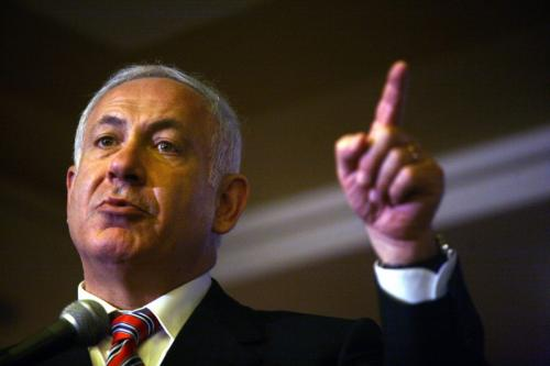 Israel's right-wing Likud party leader Benjamin Netanyahu talks during a press conference in Jerusalem on 16 April, 2008 [Lior Mizrahi/Getty Images]