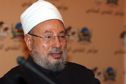 Egyptian-born cleric Sheikh Yusuf al-Qaradawi attends the sixth annual Al-Quds (Jerusalem) Conference organised by the Jerusalem International Foundation in the Qatari capital Doha on October 12, 2008 [KARIM JAAFAR/AFP/Getty Images]