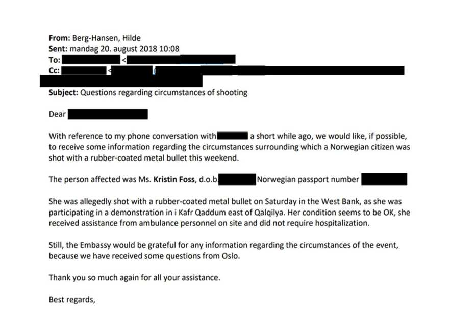 Email from the Norwegian government to Israel on Kristin Foss' shooting